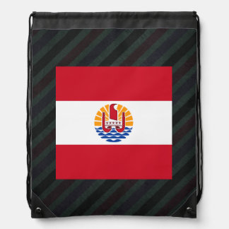 Official French Polynesia Flag on stripes Drawstring Backpack