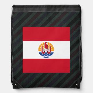 Official French Polynesia Flag on stripes Drawstring Bag