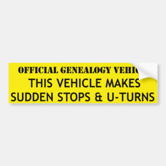 Official Genealogy Vehicle Bumper Sticker
