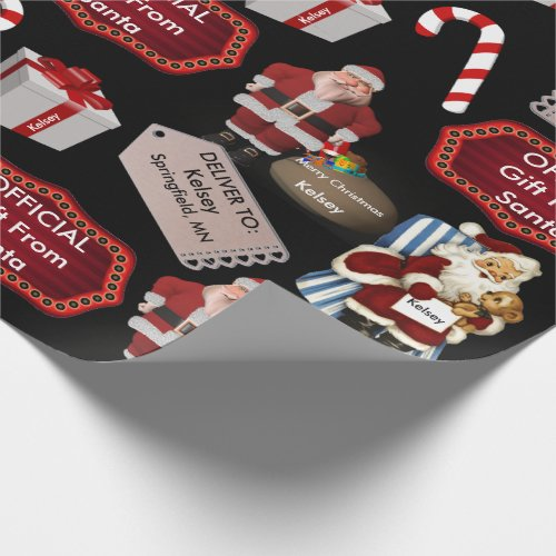 Official Gift From Santa Vintage wName  Location Wrapping Paper