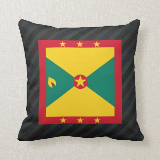 Official Grenada Flag on stripes Throw Pillow