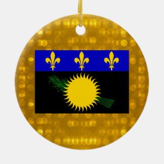 Official Guadeloupean Flag Ceramic Ornament