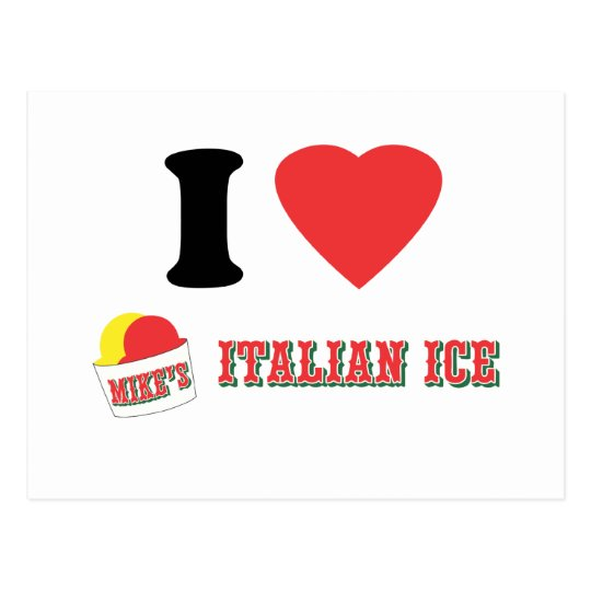 """Official """"I LOVE MIKE'S ITALIAN ICE"""" Brand Postcard"""