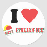"""Official """"I LOVE MIKE'S ITALIAN ICE"""" Brand Round Stickers"""