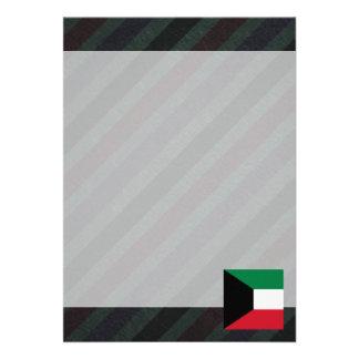 "Official Kuwait Flag on stripes 5"" X 7"" Invitation Card"