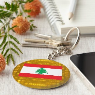 Official Lebanese Flag Basic Round Button Keychain