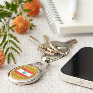 Official Lebanese Flag Silver-Colored Oval Metal Keychain