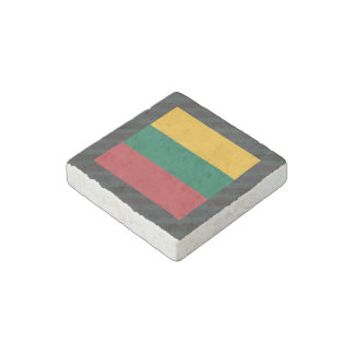 Official Lithuania Flag on stripes Stone Magnet