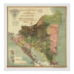 Official Map of Nicaragua 1898 Print