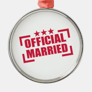 Official Married Round Metal Christmas Ornament