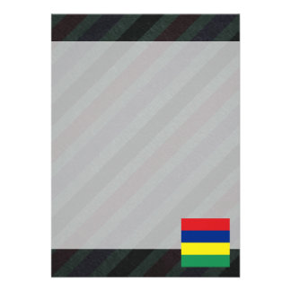 Official Mauritius Flag on stripes Card