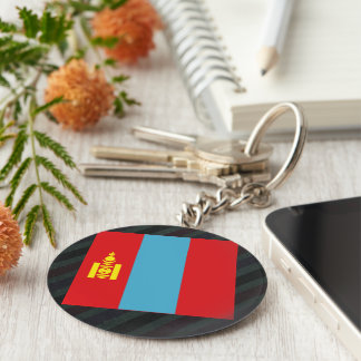 Official Mongolia Flag on stripes Basic Round Button Keychain