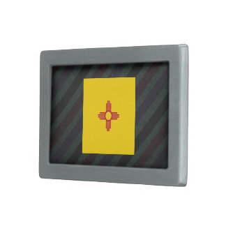 Official New Mexico Flag on stripes Belt Buckle