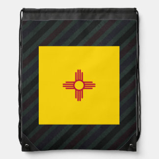 Official New Mexico Flag on stripes Drawstring Bag
