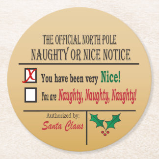 Official North Pole Naughty or Nice Round Paper Coaster
