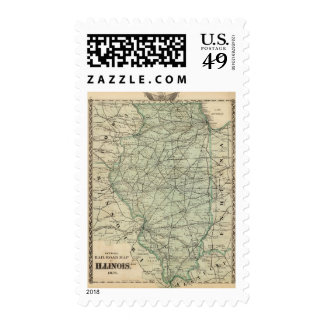 Official railroad map of Illinois Postage Stamps