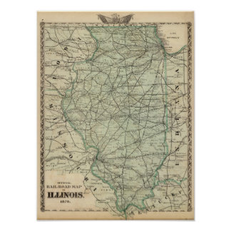 Official railroad map of Illinois Poster
