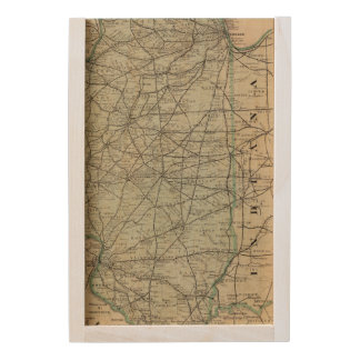 Official railroad map of Illinois Wooden Keepsake Box