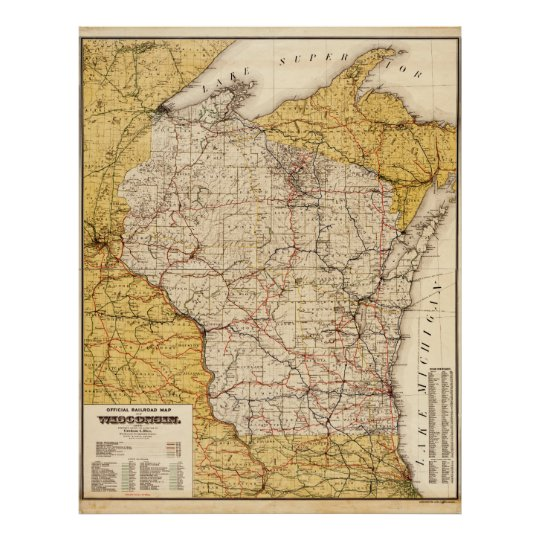 Official Railroad Map of Wisconsin (1900) Poster on map of uranus, map of cold mountain, map of jfk, map of luna, map of the great war, map of brazil, map of greed, map of italy, map of police, map of iran, map of new york, new york, map of barbara, map of 49th parallel, map of life is beautiful, map of wolf, map of gettysburg, map of apocalypse now, map of network, map of zulu,