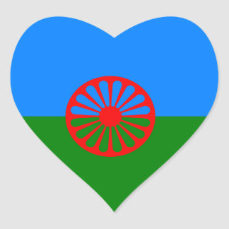 Official Romany gypsy flag Heart Sticker
