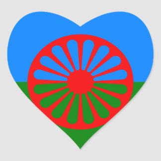 Official Romany gypsy flag Heart Sticker