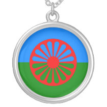 Official Romany gypsy flag Silver Plated Necklace