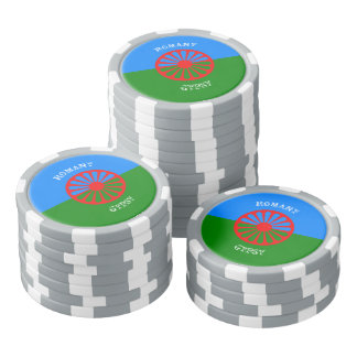 Official romany gypsy flag symbol set of poker chips