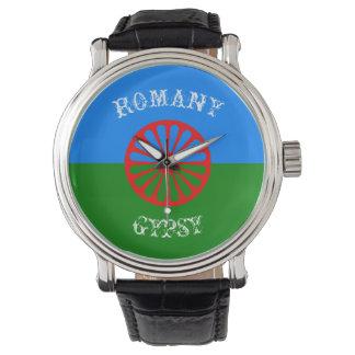 Official romany gypsy flag symbol wrist watch