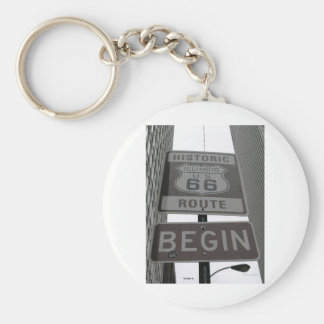 Official Route 66 begin sign Keychain