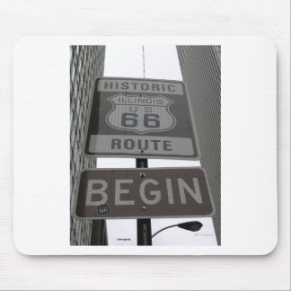 Official Route 66 begin sign Mouse Pad