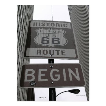 Entire Official Route 66 begin sign Postcard