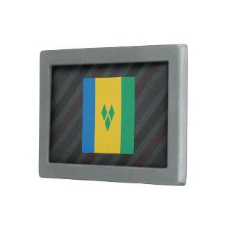 Official Saint Vincent and the Grenadines Flag on Rectangular Belt Buckle