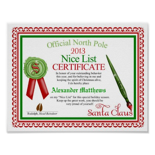 Official Santa Claus Nice List Certificate Poster | Zazzle
