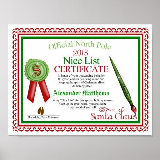 Free Printable Santa Claus Nice List Certificates 2014 | New Calendar ...