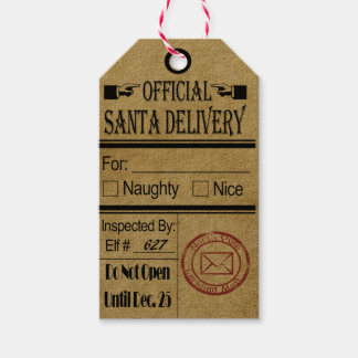 Official Santa Delivery Tags Chrismas Naughty nice