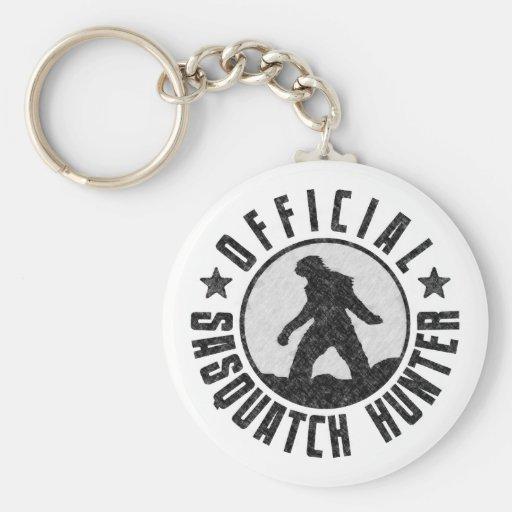 Official Sasquatch Hunter - Bigfoot in B/W Grunge Key Chains