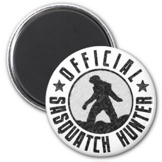 Official Sasquatch Hunter - Bigfoot in B/W Grunge Refrigerator Magnets