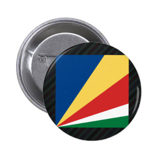 Official Seychelles Flag on stripes 2 Inch Round Button
