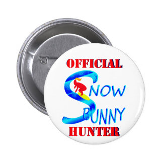 official snow bunny hunter 2 inch round button