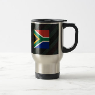 Official South Africa Flag on stripes Travel Mug