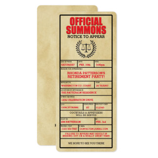 Official Summons Retirement Party Invitations