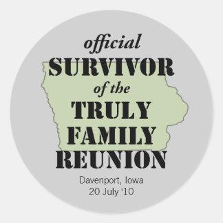 Official Survivor of Family Reunion - Iowa Classic Round Sticker