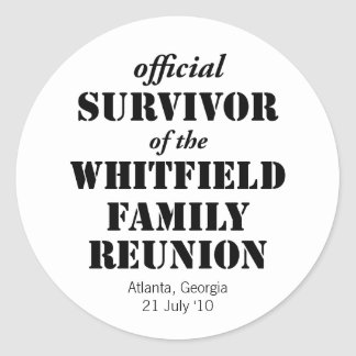 Official Survivor of Our Family Reunion Classic Round Sticker
