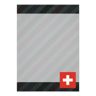 Official Switzerland Flag on stripes Card