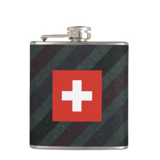 Official Switzerland Flag on stripes Flask