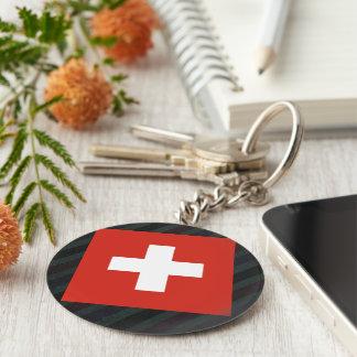 Official Switzerland Flag on stripes Keychain