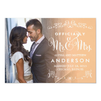 Official Titles Wedding Announcement - Peach