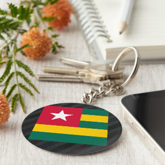 Official Togo Flag on stripes Basic Round Button Keychain