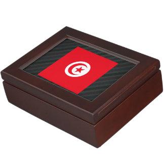 Official Tunisia Flag on stripes Memory Box