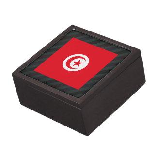 Official Tunisia Flag on stripes Premium Keepsake Box